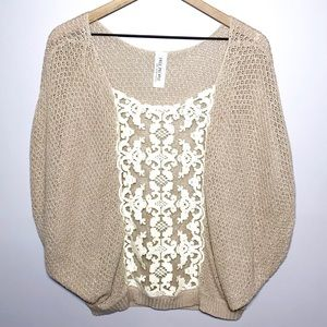 Free People Sz M Lace Panel Cocoon Sweater